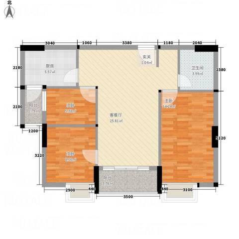 天和豪庭3室1厅1卫1厨68.70㎡户型图