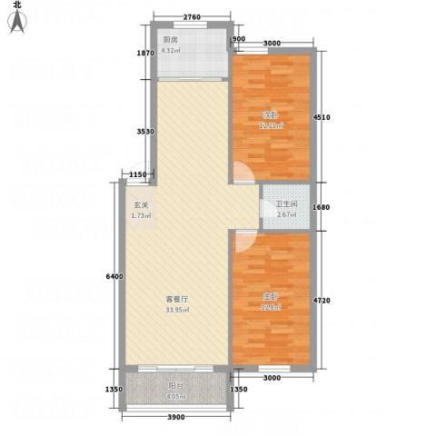 香格里拉2室1厅1卫1厨70.00㎡户型图