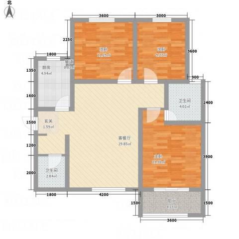 滨港龙湾3室1厅2卫1厨115.00㎡户型图