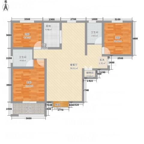 滨港龙湾3室1厅2卫1厨124.00㎡户型图