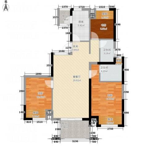 四季金辉3室1厅2卫1厨115.00㎡户型图