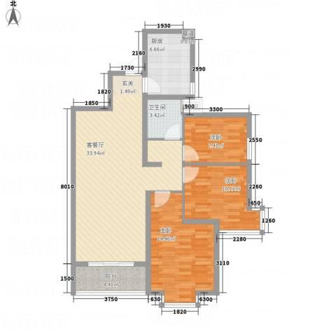 卓越香樟美域3室1厅1卫1厨115.00㎡户型图