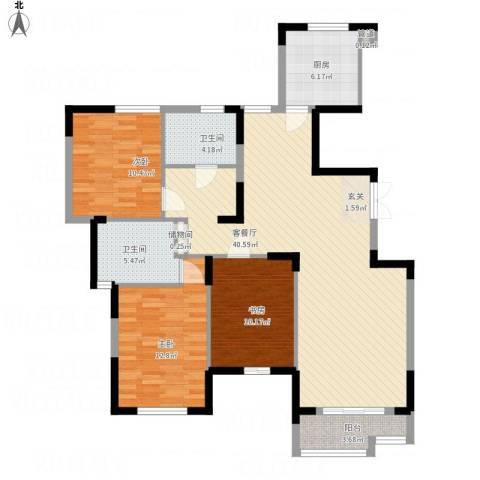 天鹅湖畔3室1厅2卫1厨133.00㎡户型图