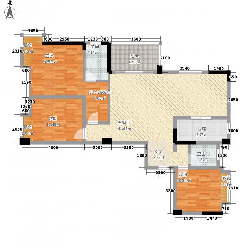 宝佳利・碧波春城134.00㎡C户型3室2厅2卫1厨