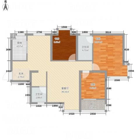 卓越香樟美域3室1厅2卫1厨123.00㎡户型图