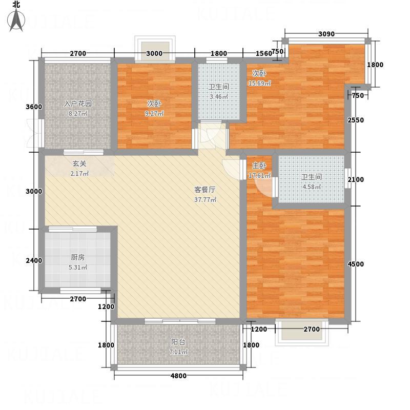 都市兰亭133.13㎡A5户型3室2厅2卫1厨
