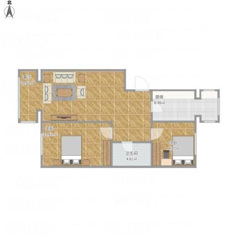 海德公寓2室1厅1卫1厨88.00㎡户型图