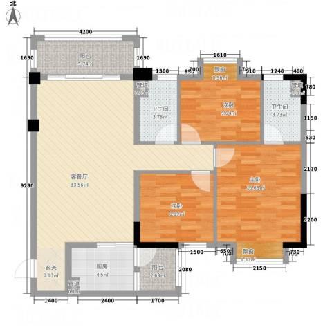 云浮碧桂园3室1厅2卫1厨126.00㎡户型图