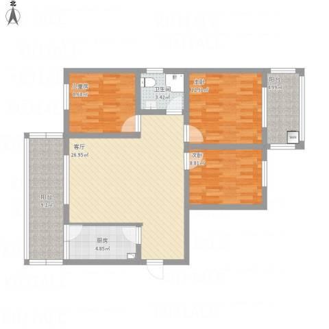 谦诚水岸枫情3室1厅1卫1厨103.00㎡户型图