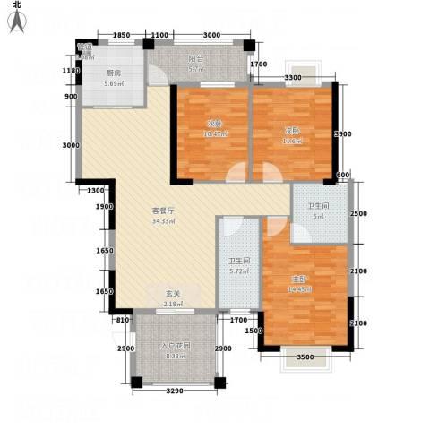 吉立・浅水湾3室1厅2卫1厨125.00㎡户型图