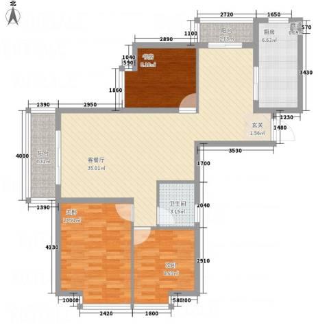 卓越香樟美域3室1厅1卫1厨118.00㎡户型图