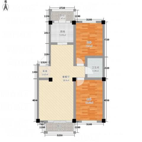 华城新视界2室1厅1卫1厨66.19㎡户型图