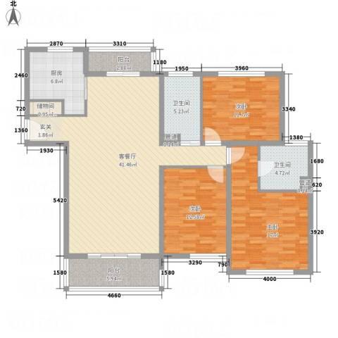上海新城3室1厅2卫1厨156.00㎡户型图