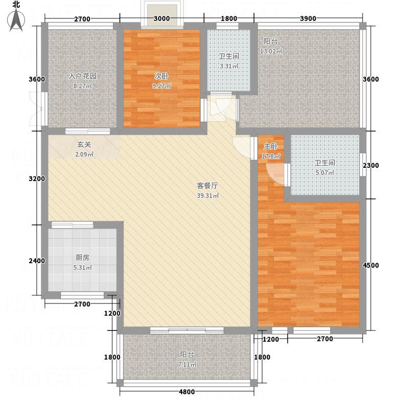 都市兰亭111.84㎡A5d户型2室2厅2卫1厨