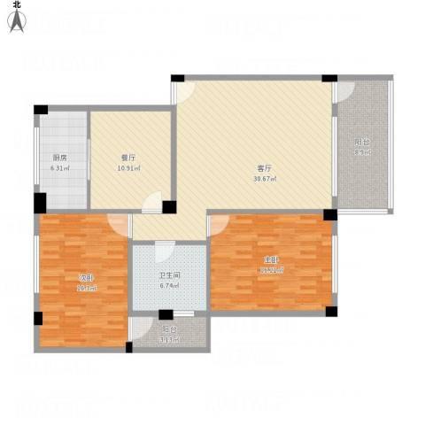 环湖花园2室2厅1卫1厨138.00㎡户型图