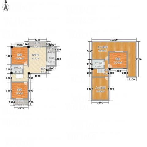 畔山庭院3室1厅2卫1厨13137.00㎡户型图