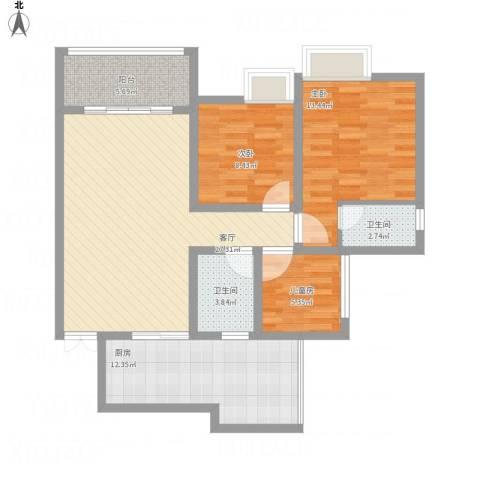 荧鸿城二期3室1厅2卫1厨115.00㎡户型图