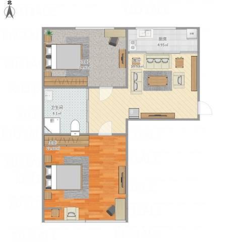 万龙第五城2室1厅1卫1厨91.00㎡户型图