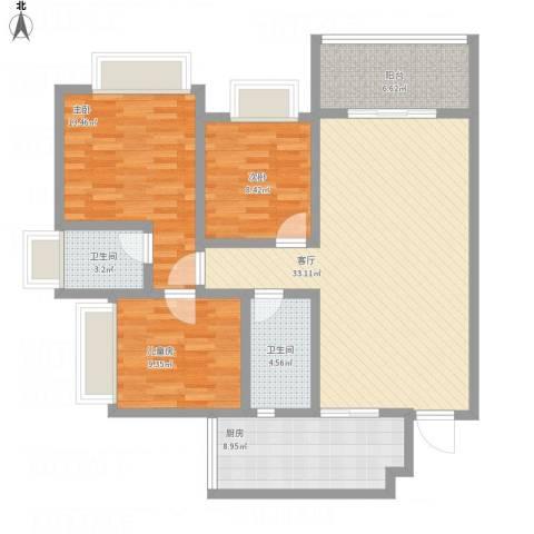 荧鸿城二期3室1厅2卫1厨127.00㎡户型图