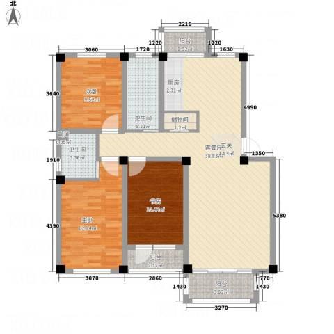 华城新视界3室1厅2卫0厨89.25㎡户型图