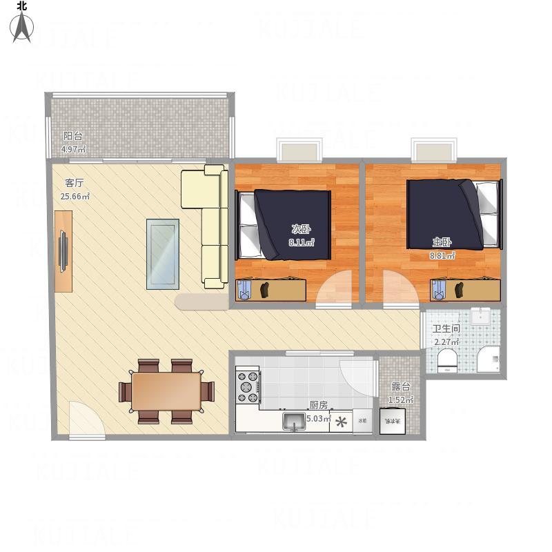 民盛花园的两房两厅户型图