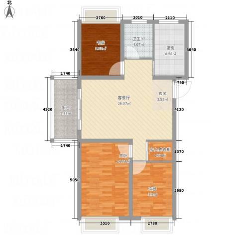 万邦金地花园3室1厅1卫1厨110.00㎡户型图