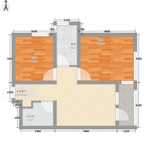 中房・金沙滩澜湾2室1厅1卫1厨72.00㎡户型图