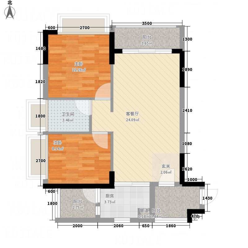 金豪城市嘉苑76.00㎡2号楼1单元0户型2室2厅1卫1厨