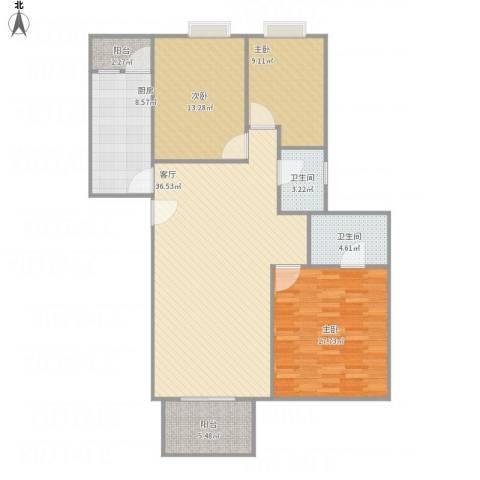 康城尚域3室1厅2卫1厨135.00㎡户型图