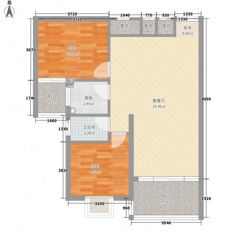 兴华广场86.20㎡A区B座B户型2室2厅1卫1厨