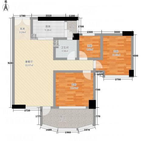 颐和上院3室1厅1卫1厨120.00㎡户型图