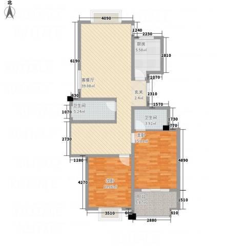 德汇公馆2室1厅2卫1厨100.30㎡户型图