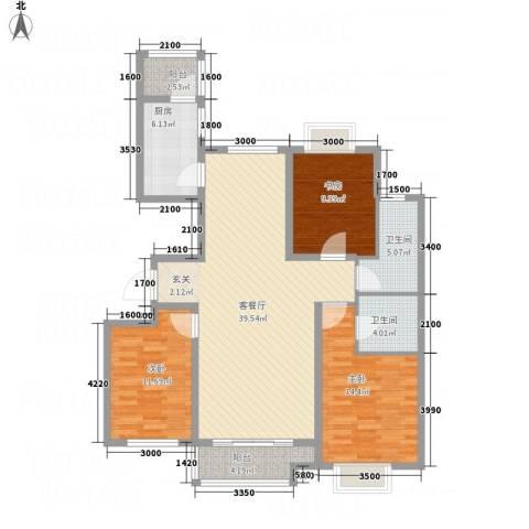嘉晟阳光城3室1厅2卫1厨136.00㎡户型图