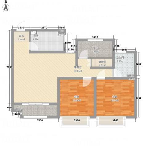 建滔裕花园2室1厅1卫1厨107.00㎡户型图