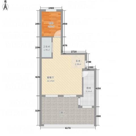 鹏博・长江花园1室1厅1卫1厨74.00㎡户型图