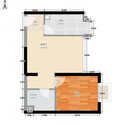 国美第一城1室1厅1卫1厨55.00㎡户型图