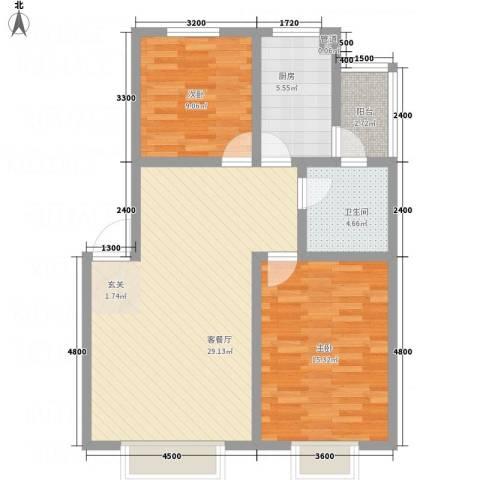 阳光水岸2室1厅1卫1厨87.00㎡户型图