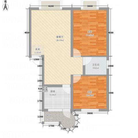 阳光水岸2室1厅1卫1厨82.00㎡户型图
