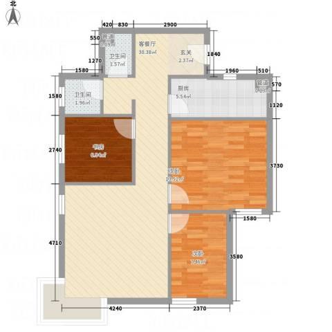 紫微花园二期3室1厅2卫1厨95.00㎡户型图