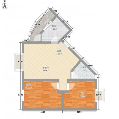 阳光水岸2室1厅1卫1厨83.00㎡户型图