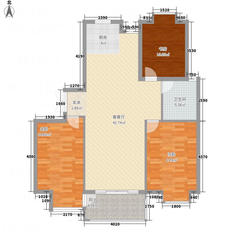新城府翰苑128.00㎡D型户型3室2厅1卫1厨