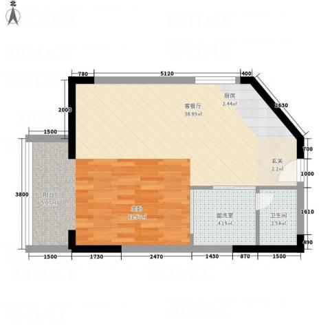 创富商务公寓2厅1卫0厨63.00㎡户型图