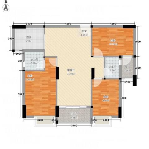 天和豪庭3室1厅2卫1厨85.01㎡户型图