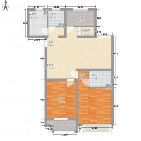 建滔裕花园2室1厅2卫1厨112.00㎡户型图