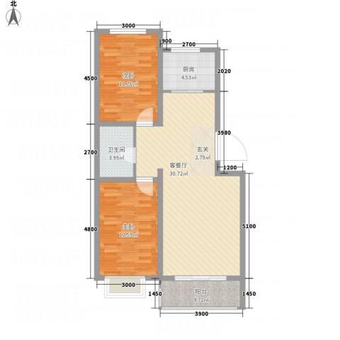 俪城2室1厅1卫1厨68.31㎡户型图