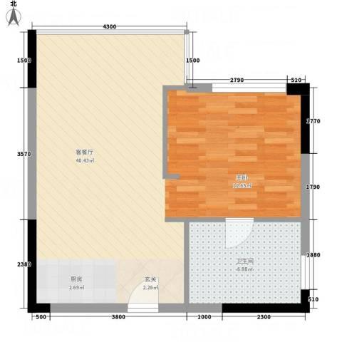 创富商务公寓1厅1卫0厨65.00㎡户型图