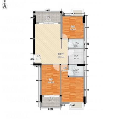 天和豪庭3室1厅2卫1厨77.09㎡户型图