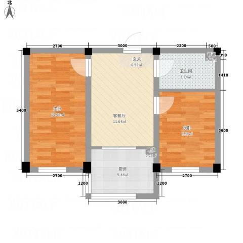 裕隆花园2室1厅1卫1厨61.00㎡户型图