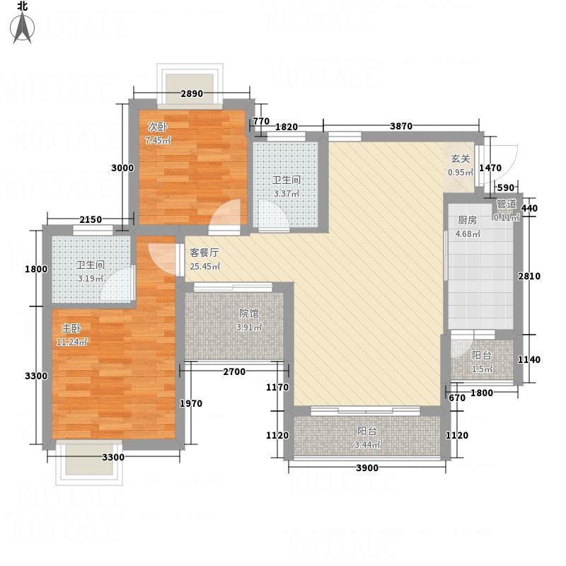 金利多・蔚蓝阳光22.57㎡2#C1户型2室2厅2卫1厨