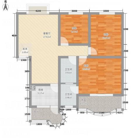 阳光水岸3室1厅2卫1厨87.48㎡户型图